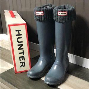 Gray Original Tall Gloss Hunter Boots with Socks